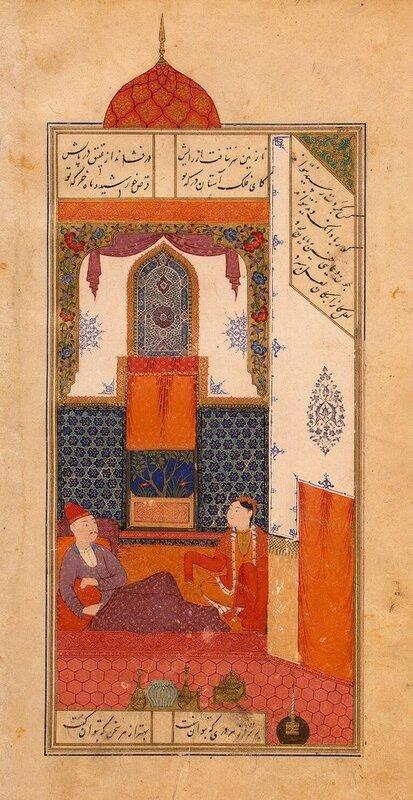 Бахрам в красном дворце (у славянской принцессы), Каллиграф Махмуд, 1431, Эрмитаж