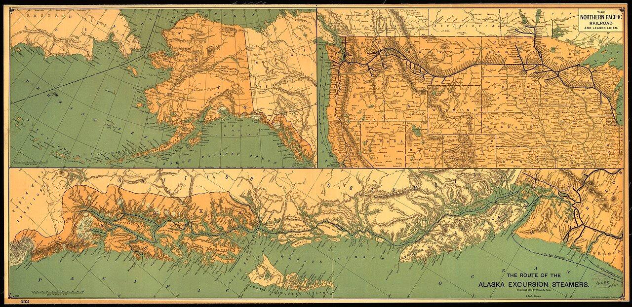 1891. Маршрут пароходов и карта железной дороги на Аляске