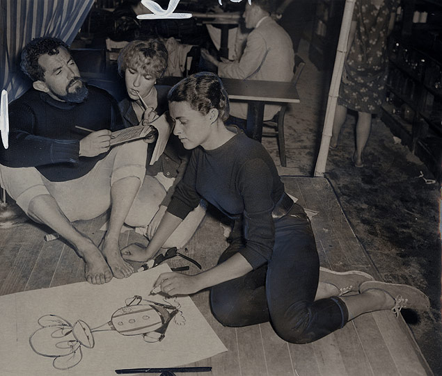 """Beatniks Rafio, his wife, Pat, and Judy Foster organize an """"Anti-Fire Department"""" protest at the Bizarre, their coffee shop which had been closed down as a fire hazard."""