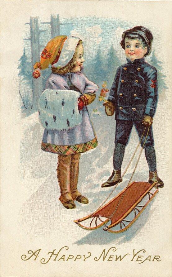Открытка с новым годом винтаж, цифрами юбилейные открытка