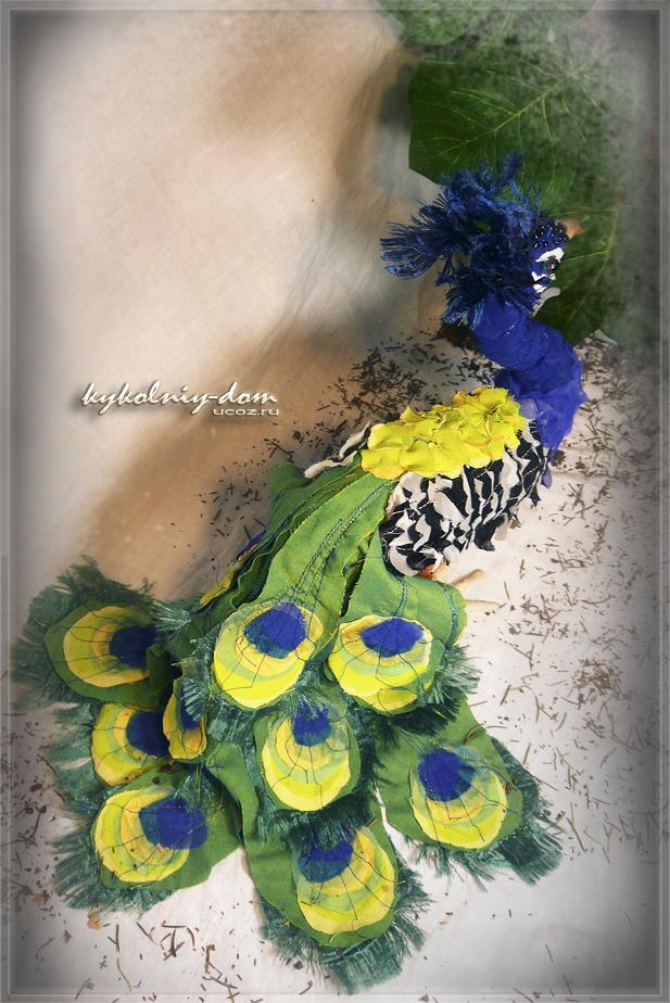 павлин. птица из ткани, текстильная птица. интерьерная текстильная шарнирная кукла продажа или пошив под заказ
