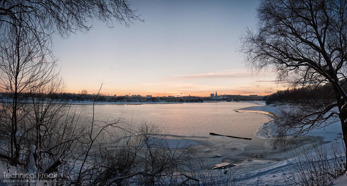 парк, коломенское, пейзаж, зима, холод, снег, закат