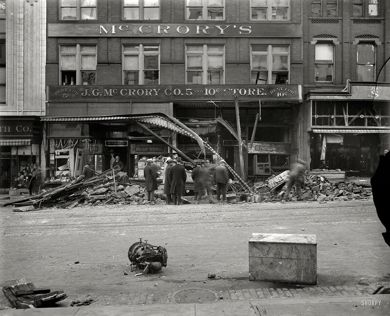 Aftermath of the McCrory disaster, a virtually forgotten chapter in the history of Washington, D.C.: At 1:32 p.m. on Nov. 21, 1929, a boiler in the basement of the McCrory five-and-dime store at 416 Seventh Street NW exploded, demolishing the ground floor