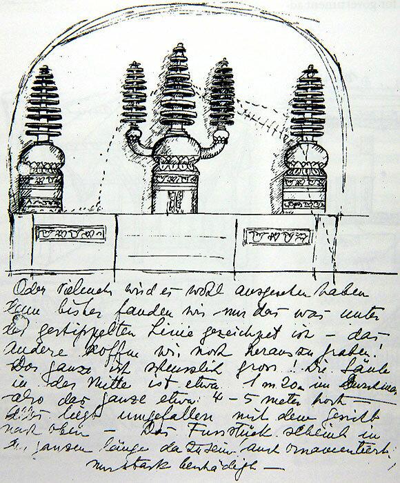 Реконструкция буддистского алтаря в Гоа-Гаджа, 1931?