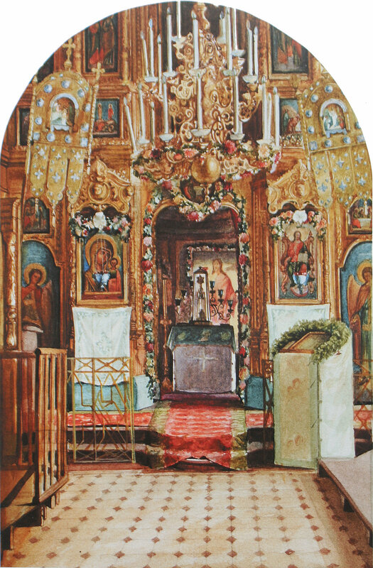 Храм святителя Николая в Клённиках. Верхняя церковь Казанской иконы Божией Матери. 1930 год. Бумага, акварель. 32 х 21 см