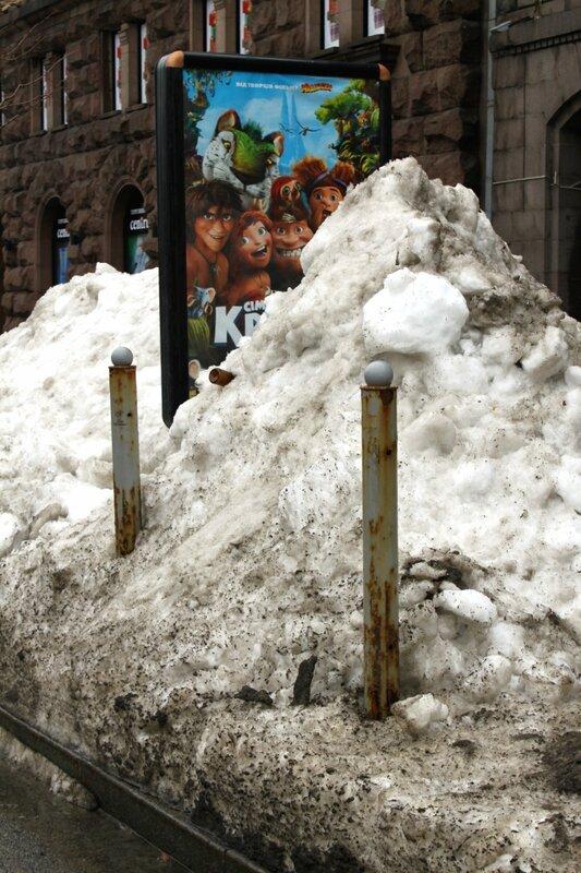 Снежные завалы на Крещатике