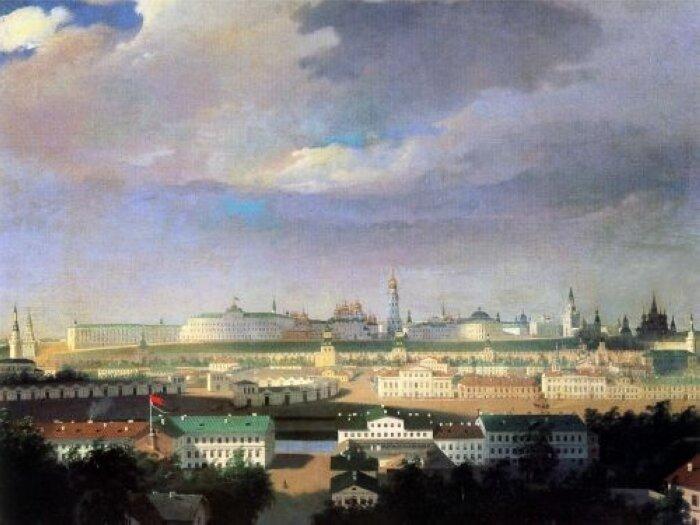 Вид на Кремль со стороны Болотной площади. Неизвестный художник середины 19-го века.