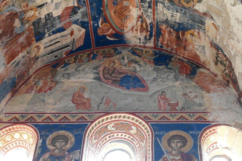 Рождество Христово. Фреска на южной стене собора в Гелати
