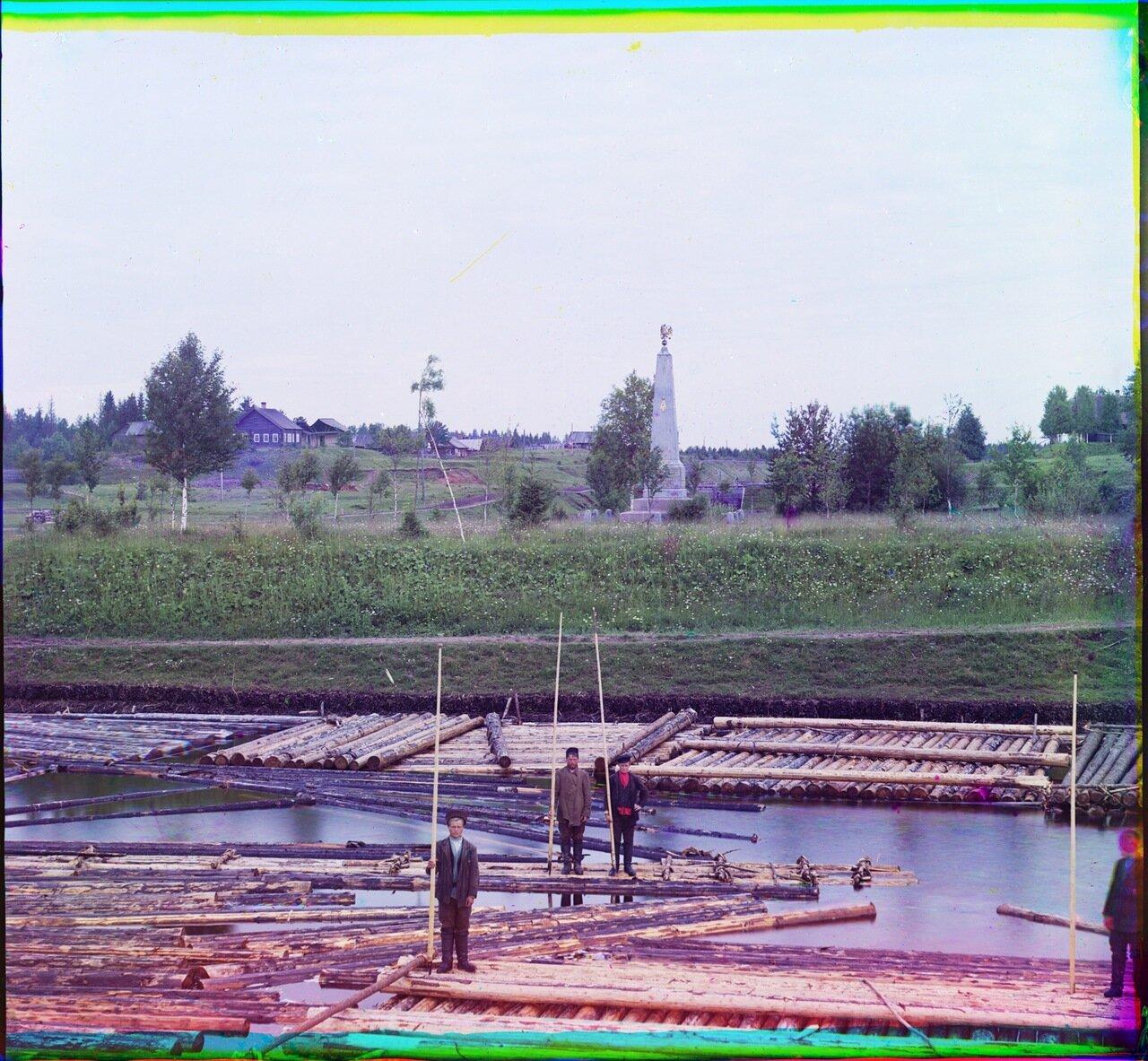 Памятник в честь окончания строительства нового соединительного (Ново-Мариинского) канала между реками Вытегрою и Ковжею. Шлюз св.Александра.1909 год