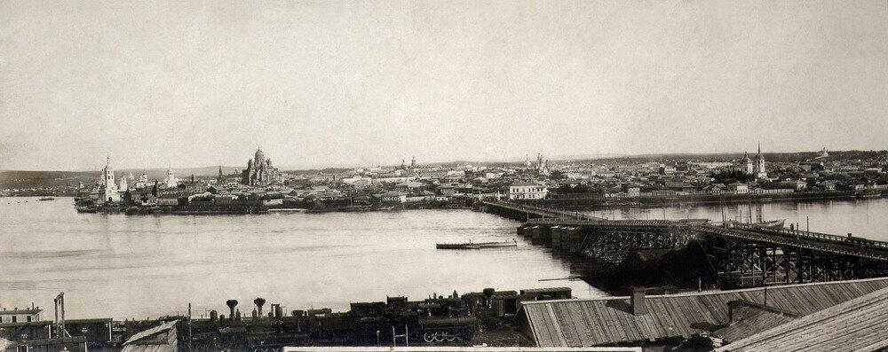Понтонный мост через Ангару 1881г.