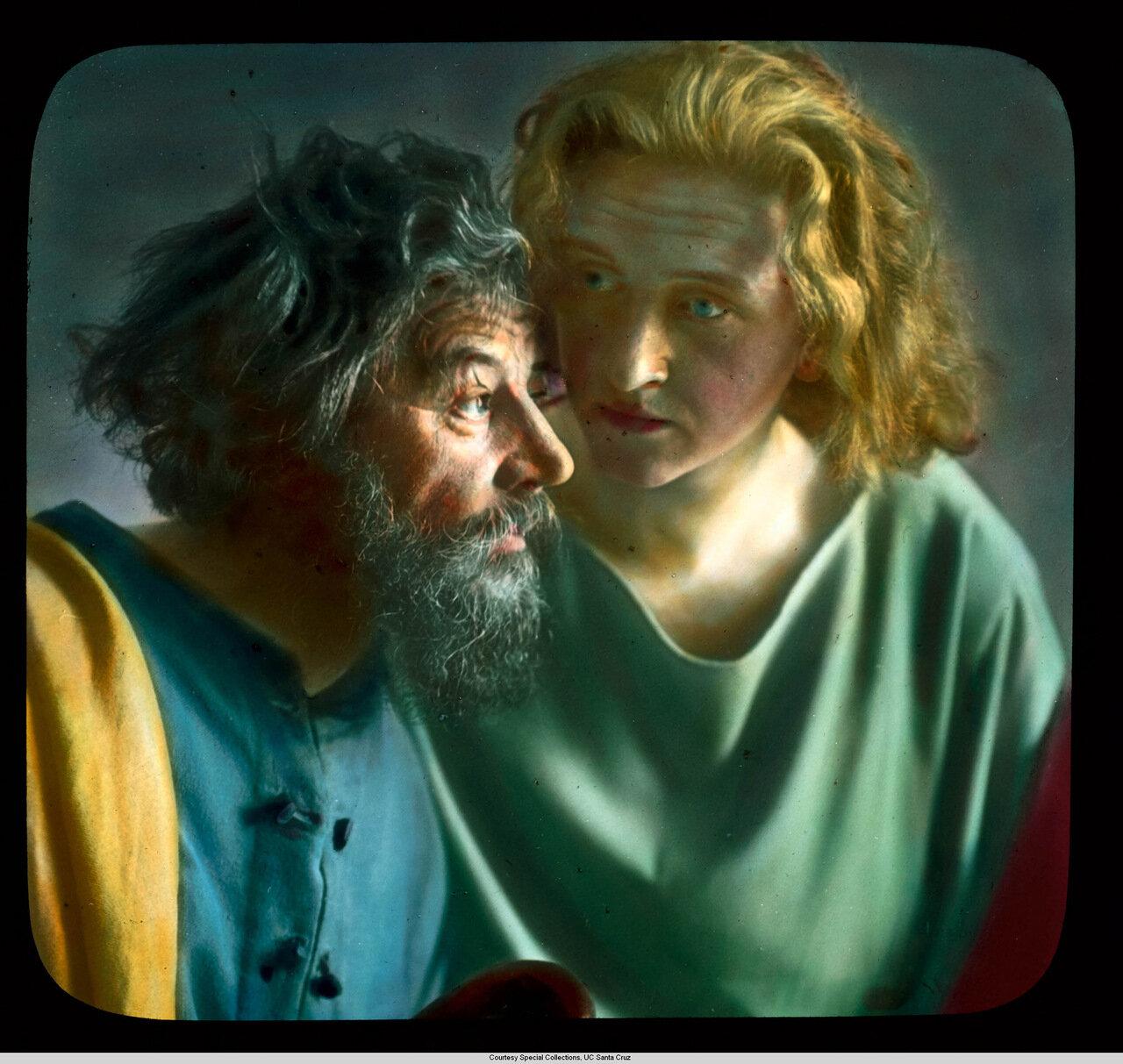 Обераммергау. Страсти Христовы. Петер Рендл как Петр и Йохан Лэнг в роли Иоанна Апостала