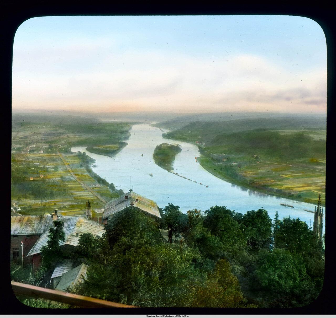 Рейнская долина.  Панорама с горы Драхенфельс