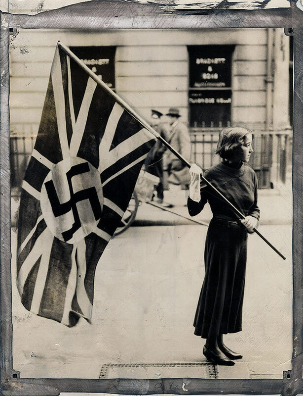 The flag of the British Fascist Party was ordered to be removed from outside the party's headquarters in London 1933