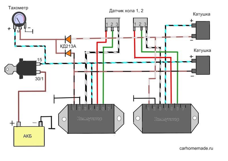 Схема с подключением тахометра