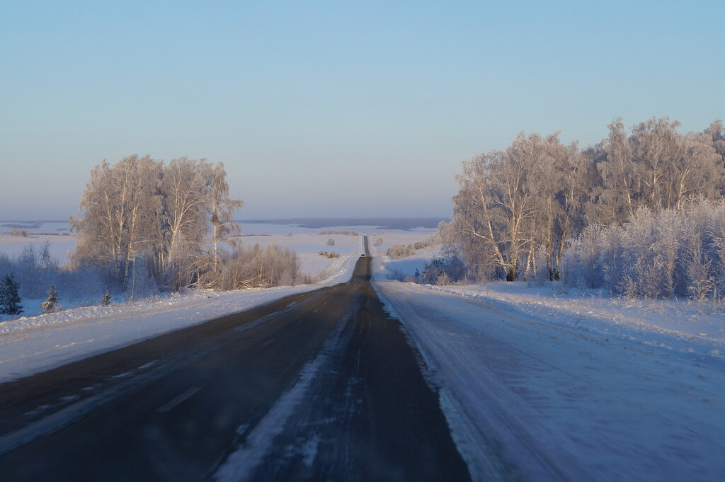 Дорога Златоуст-Магнитогорск из окна автомобиля
