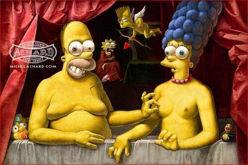 Голые симпсоны, пародия на картину с Габриэль д'Эсте