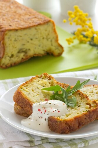 Cake with zucchini and cheese.