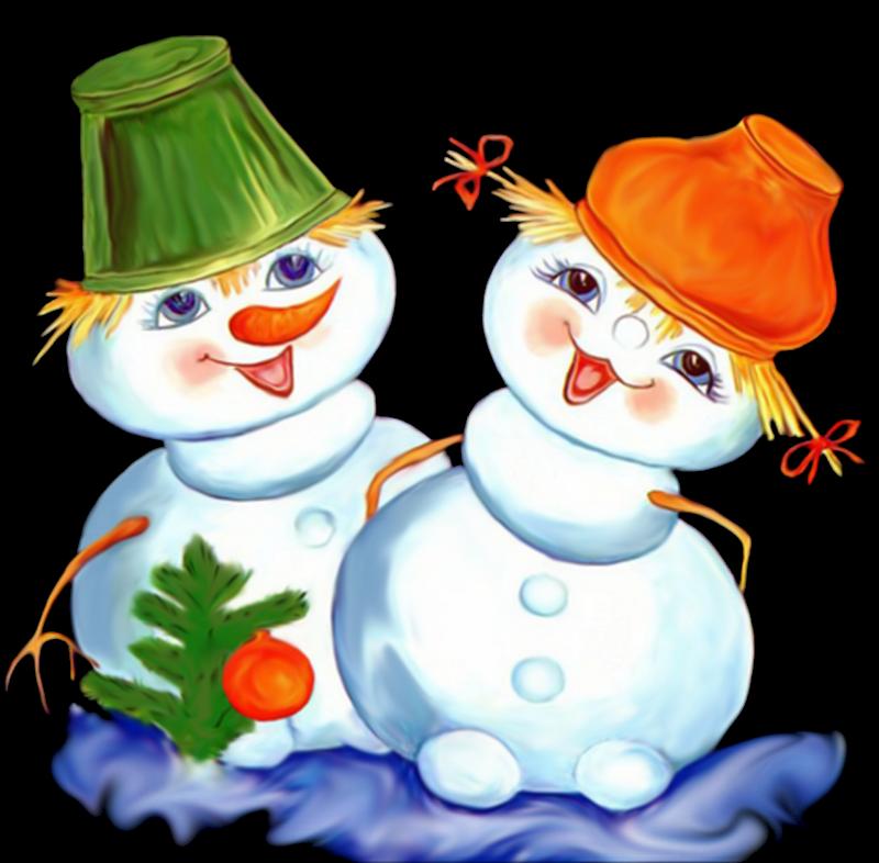 Картинка снеговик и девочка
