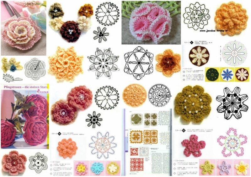 Вязание объемных цветов 343