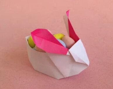 Оригами кролики-корзинки