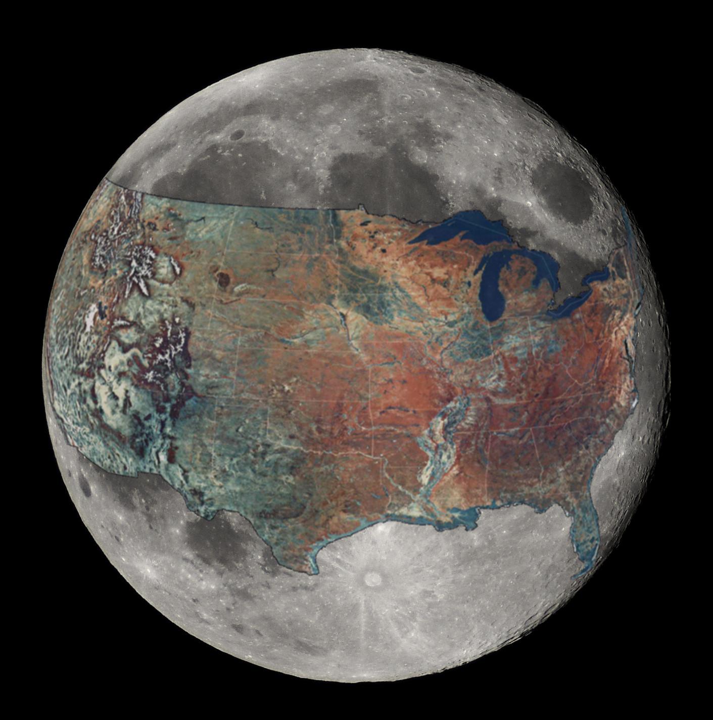 размеры США и Луна