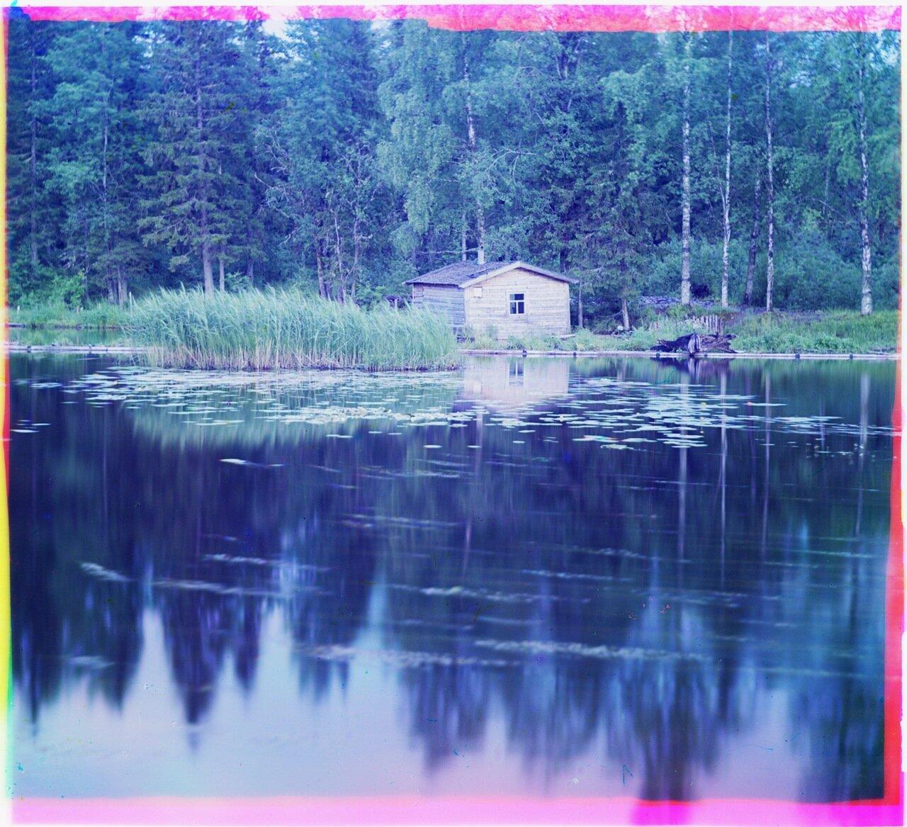 Лижма (пловучий остров). У Ковжской плотины.1909 год