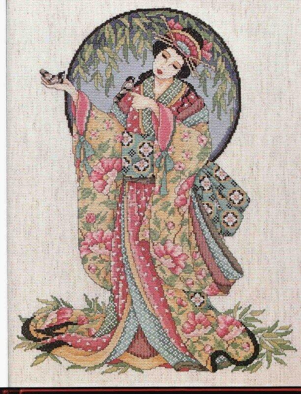 """Схема вышивки """"Вышивка японки"""
