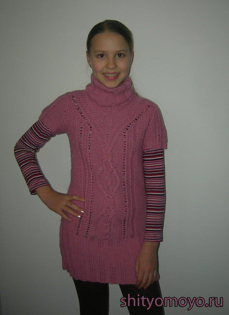 Полосатый сарафан на завязках и леггинсы для девочки спицами