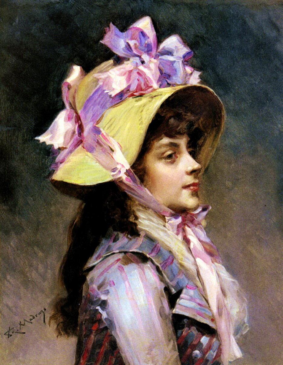 Raimundo de Madrazo y Garreta (1841-1920) - Portrait Of A Lady In Pink Ribbons