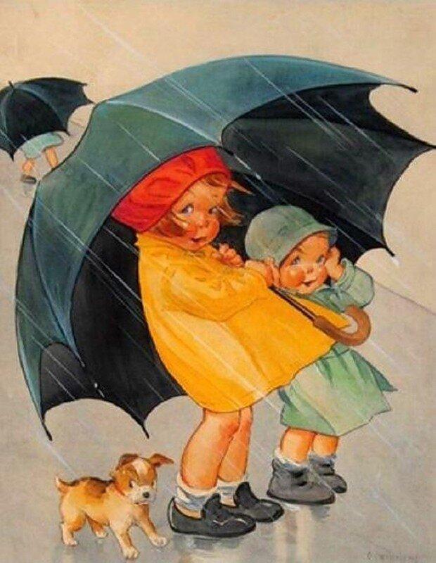 Вверх, осень на советских открытках