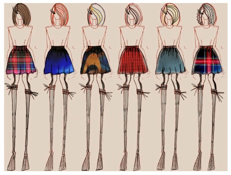 Эскизы юбок на моделях