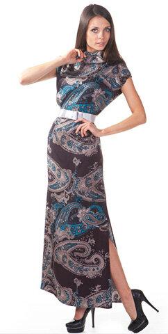 19a6dd6481c Платье длинное огурцы на коричневом 42 разм - длинное платье с огурцами