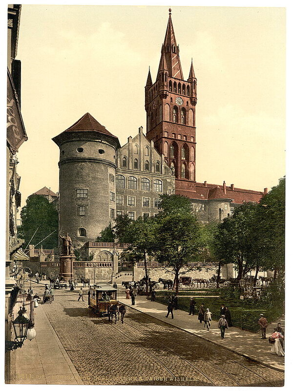 Castle tower and Emperor William's Monument, Konigsberg, East Prussia, Germany.