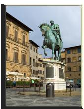 Италия. Флоренция. Statue of Cosimo I de' Medici by Giambologna, Florence, Italy. Фото Antartis - Depositphotos