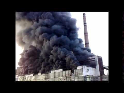 Пожар на Углегорской ТЭС в Донецкой области (видео)