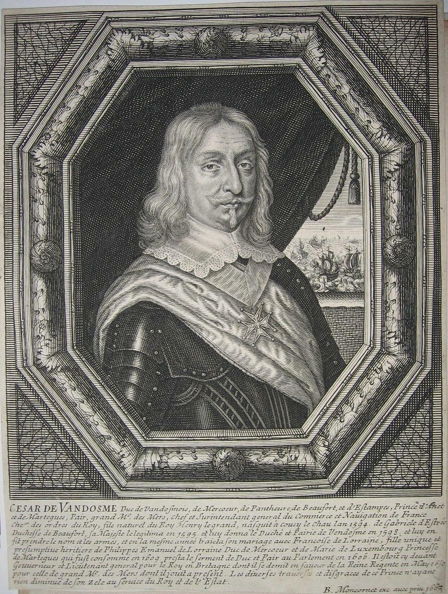 Moncornet, Сезар де Бурбон, (1594—1665) Портрет Сезара, герцога Вандомского, кисти Moncornet