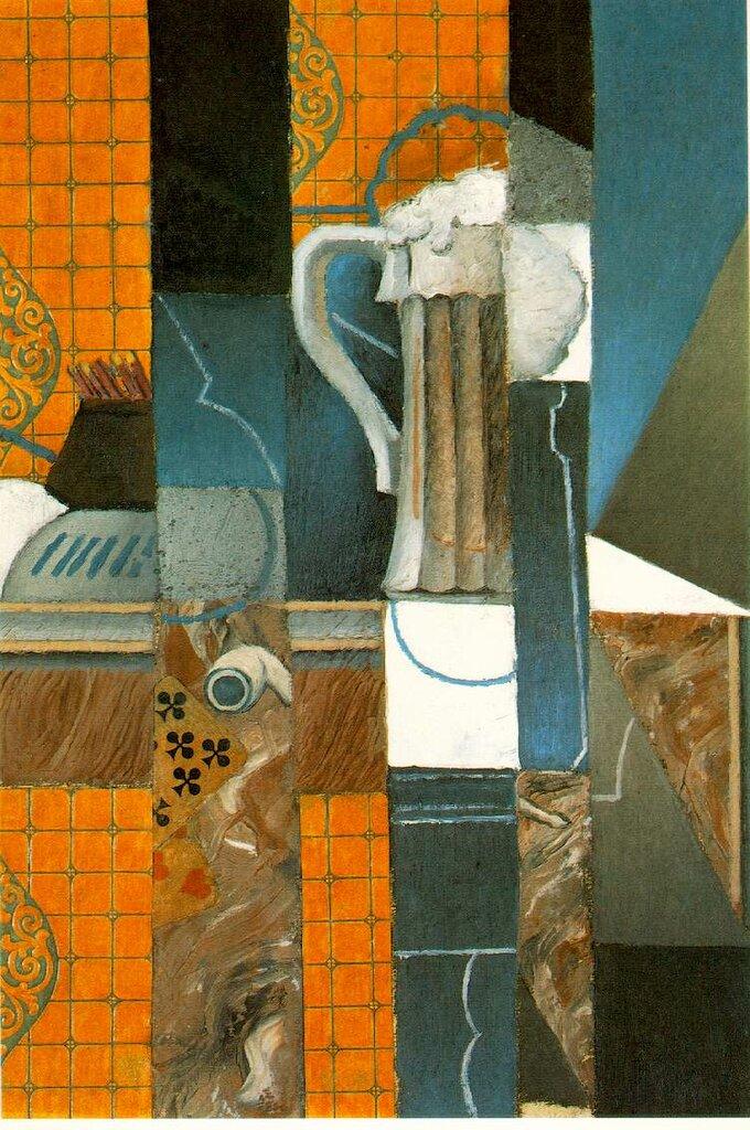 Кружка пива и карты. Коллаж. 1913, Хуан Грис (1887-1927)