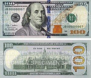 В США представили новую купюру достоинством $ 100