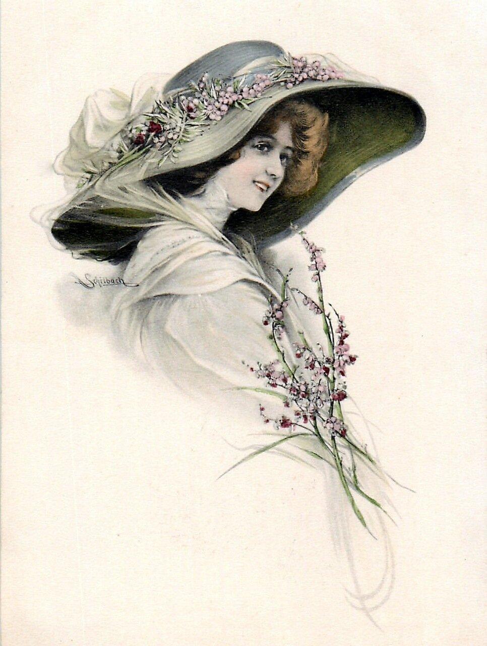 форма, старые открытки шляпки присутствие
