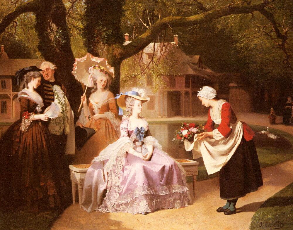 Marie Antoinette e Louis XVI no Jardim das Tuileries com Madame Lambale