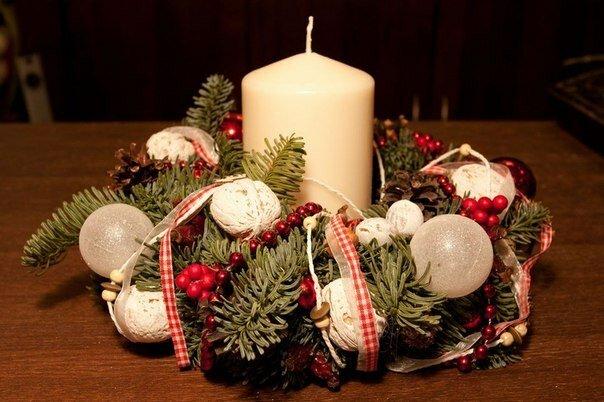 Венок новогодний из ели своими руками