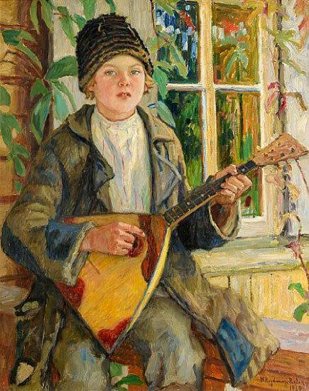 Мальчик с балалайкой 1930 холст, масло 90.5x70.5.jpg