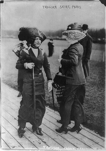 Women's fashions: trouser skirt, Paris, March 1911