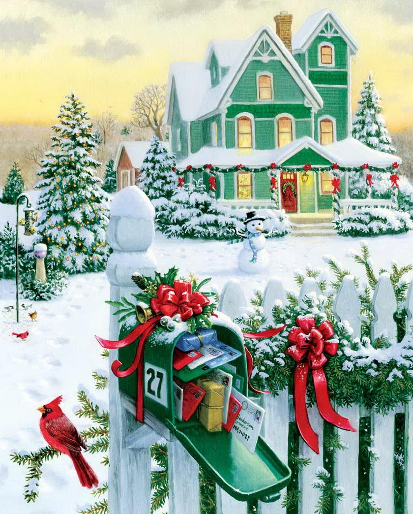 Рождественские открытки домик
