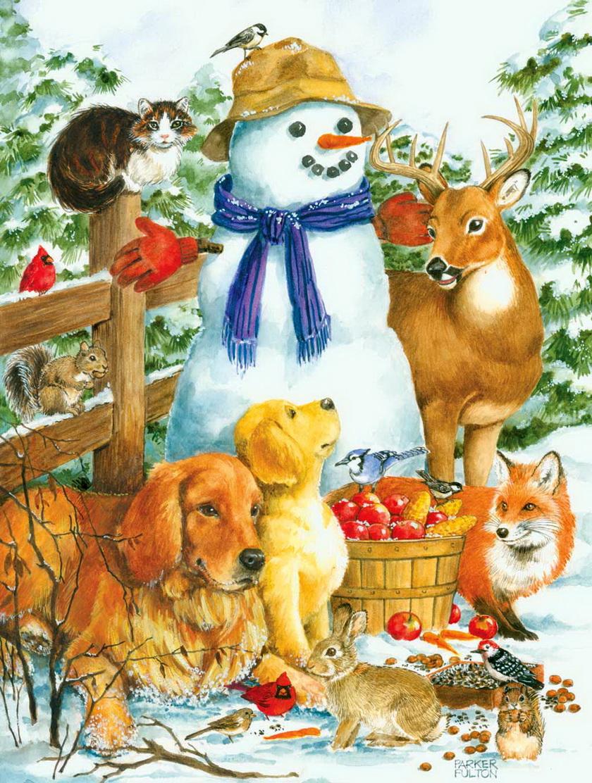 РКП-070 Ткань с рисунком для вышивания бисером Снеговик.