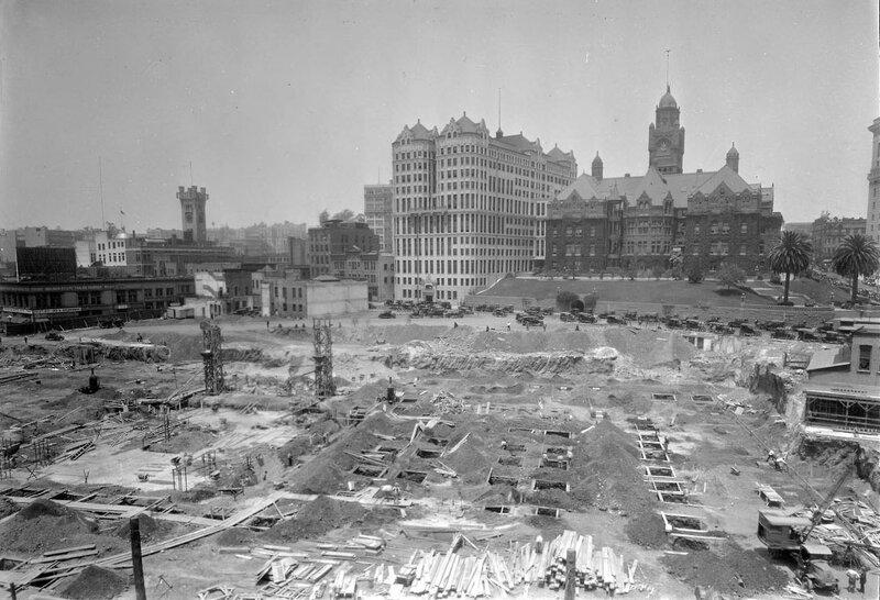 Los Angeles City Hall construction site, 1926.