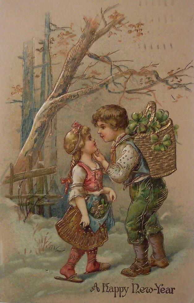 Прикольные, открытка 19 век с новым годом