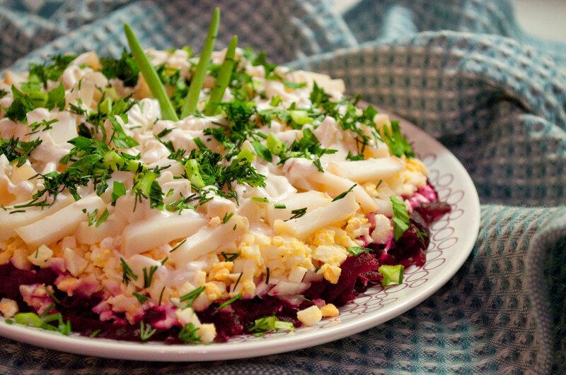 Салат Горячий кальмар   пошаговый рецепт с фото