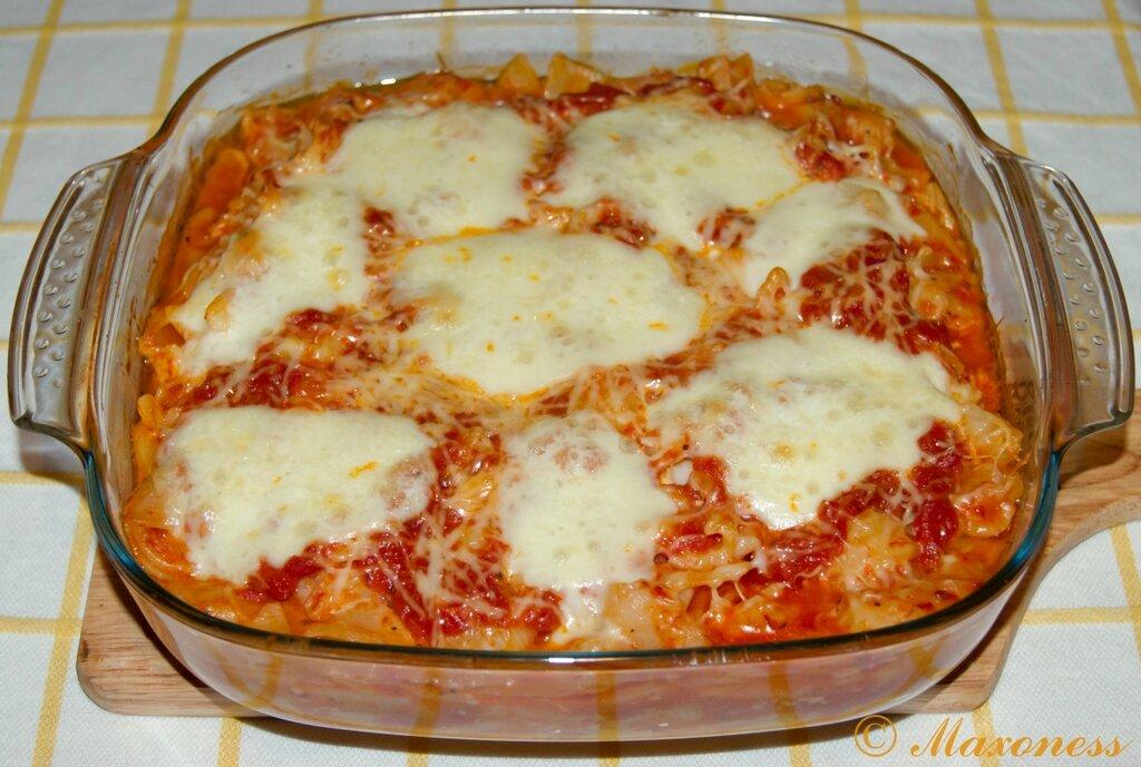 Паста, запеченная с помидорами и моцареллой. Итальянская кухня