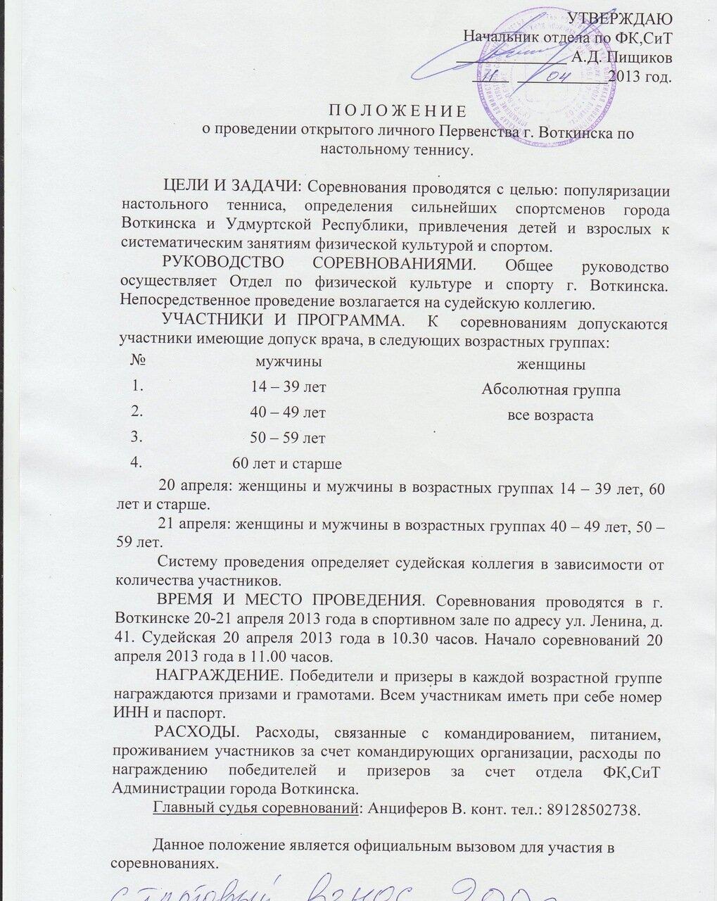 Открытое личное первенство г.Воткинска по настольному теннису